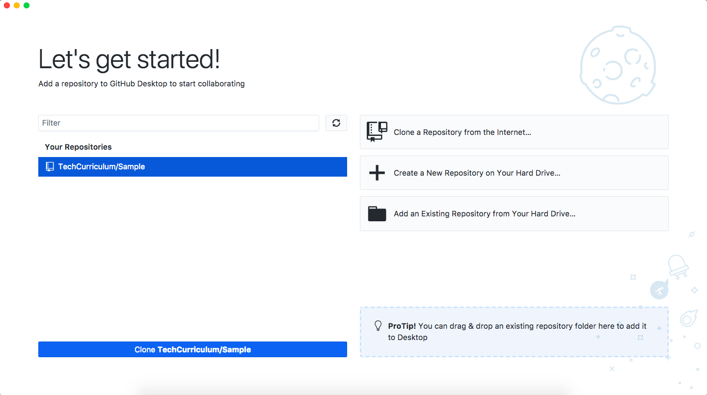 GitHub Desktop開始画面